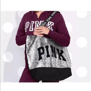 Victorias Secret PINK Sequin Bling Tote Bag Silver
